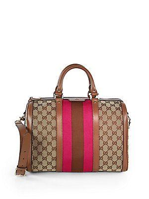 Gucci Vintage Web Original GG Canvas Boston Bag - Love the pop of pink! #saksfifthavenue