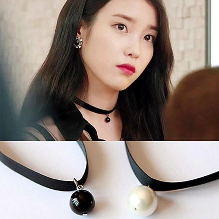 N658 Simulated Pearls Pendant Chokers Necklaces Clavicle Women 90's Girl Ribbon Collares Fashion Jewelry Gothic Bijoux Colar NEW
