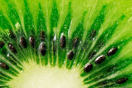 macrofotografie van een segment van sappige kiwi fruit Stockfoto
