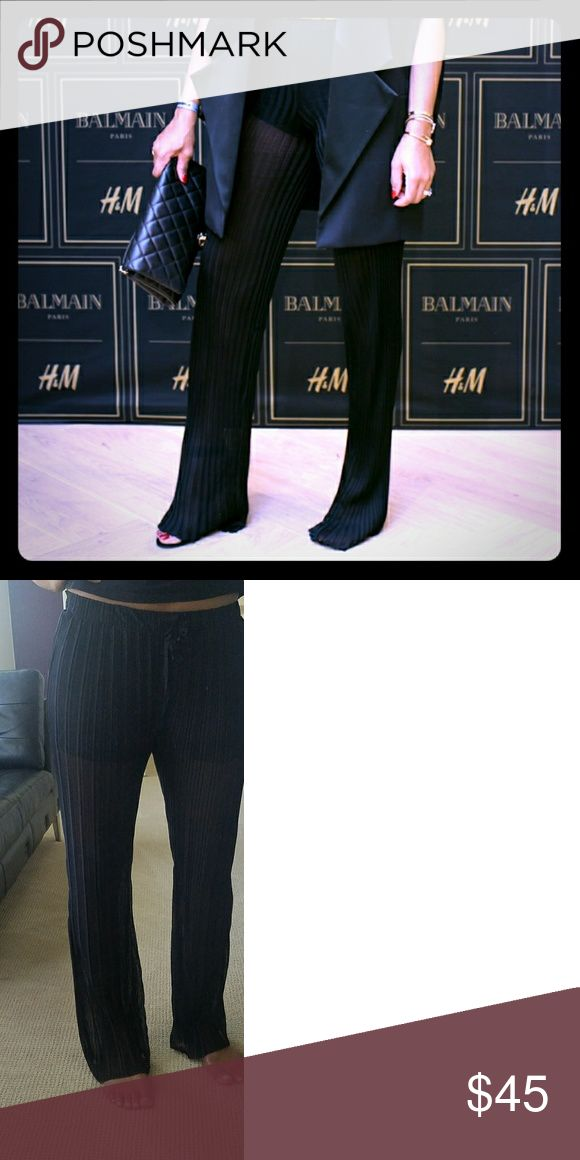 Zara (Balmain Inspired) Sheer Pants w Pleats Balmain inspired w/ sheer pleats. I purchased these through Zara online after seeing them on fashionista/designer Winonah Dejong  (as pictured in covershot) however, neither size I purchased complimented me as it did for her. As I am much taller and not as petit as she. Pretty firm on price do to posh' s share policy. Zara Pants Straight Leg