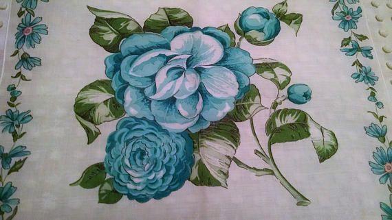 Beautiful Aqua Blue Peonies Vintage Floral Hankie Handkerchief
