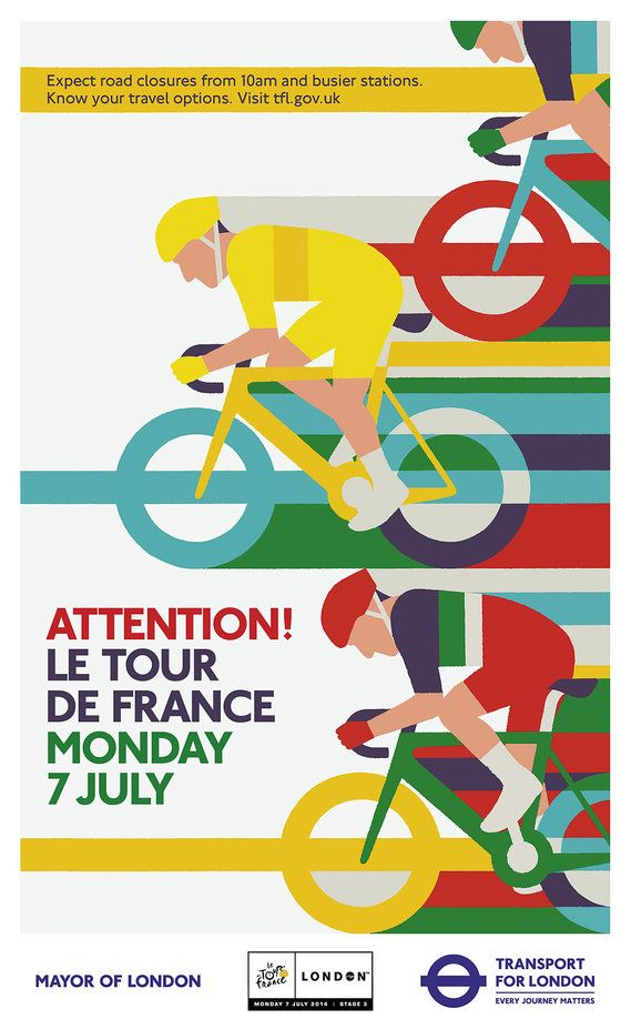 "Transport for London: ""Attention! Le Tour De France"" posters by Adrian Johnson. #tourdefrance2014 #design #london"