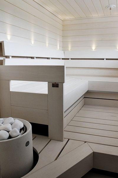 sauna,valkoinen,saunan lauteet,vaaleat sävyt,asuntomessut
