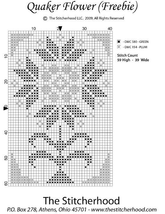 quaker cross stitch | cross stitch quaker freebies | Cross Stitch / Quaker Flower freebie