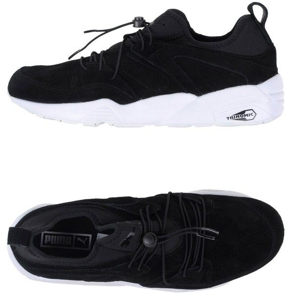 Puma Low-tops & Sneakers ($84) ❤ liked on Polyvore featuring shoes, sneakers, black, black leather trainers, black sneakers, animal trainer, low profile sneakers and black leather sneakers