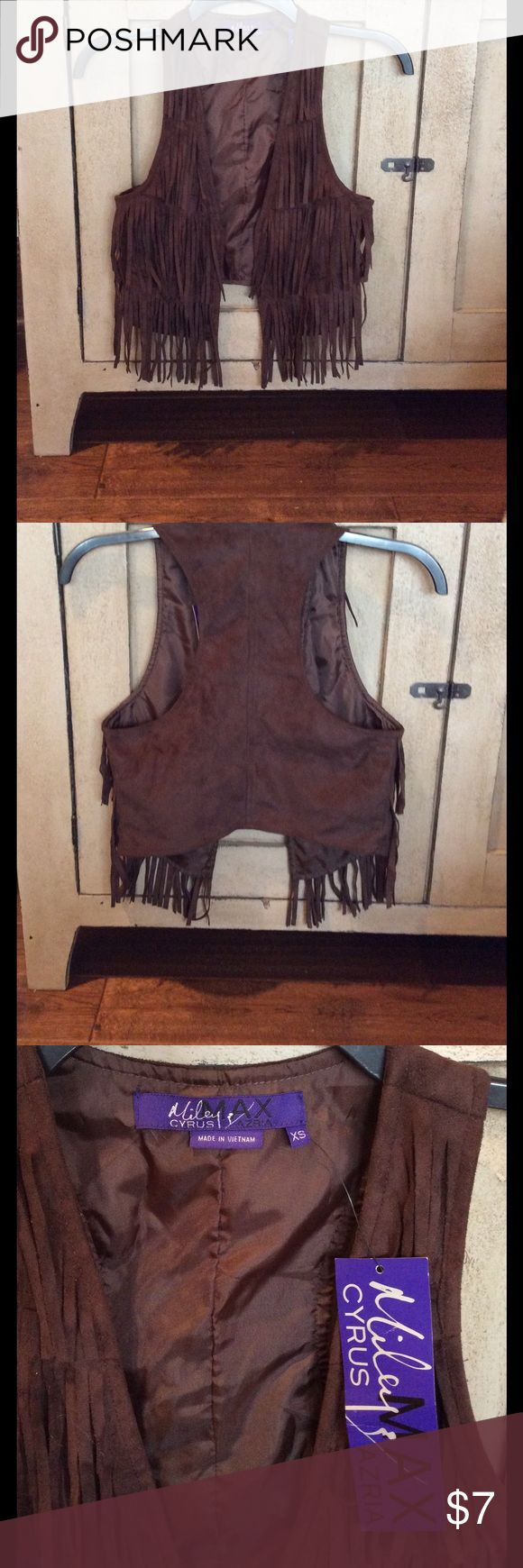 Brown western vest, XS, NWT, Miley Cyrus brand. Soft suede like fabric brown western fringed vest. NWT, XS. Great for costume or dress up. miley cyrus Costumes Halloween