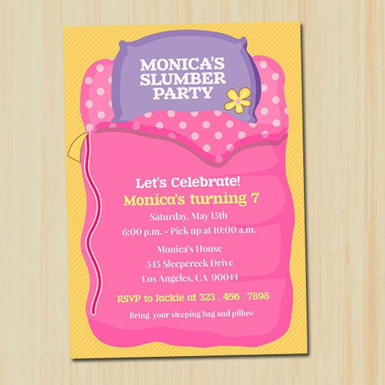 39 best slumber party invitations images on pinterest | slumber, Party invitations