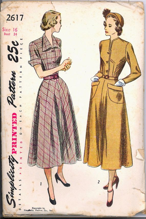 1940s Day Dress Simplicity 2617 Bust 34 by VintagePatternsCo1, $22.99