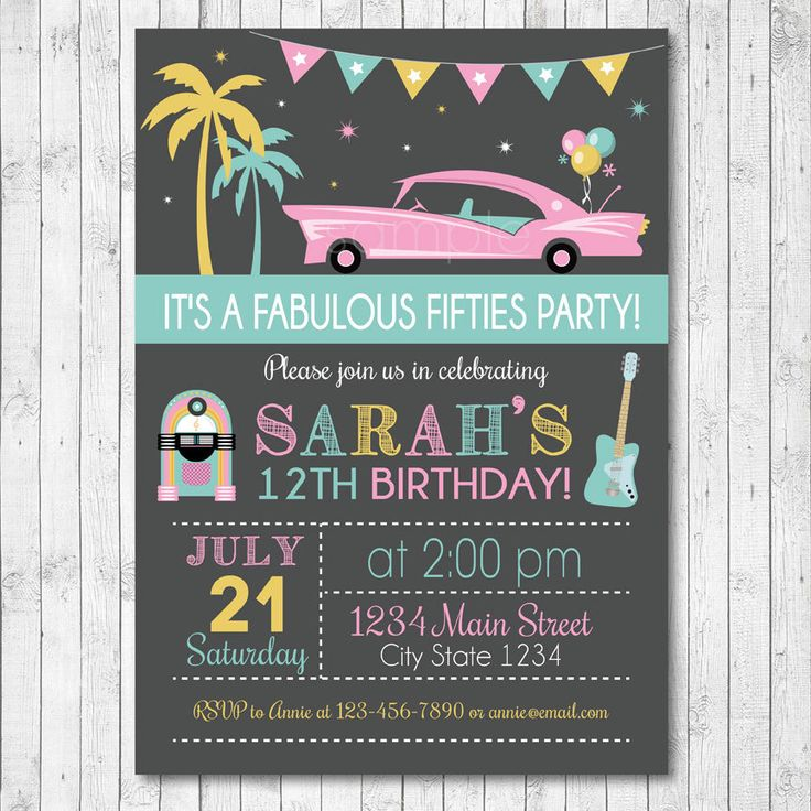 Fifties Birthday Invitation Card - Digital Printable File by funkymushrooms on Etsy