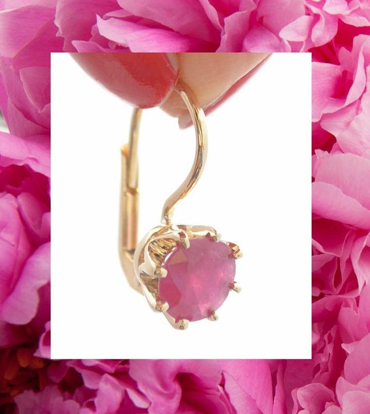 Gold earrings with ruby/ złote kolczyki z rubinem wykonane na zamowienie klienta