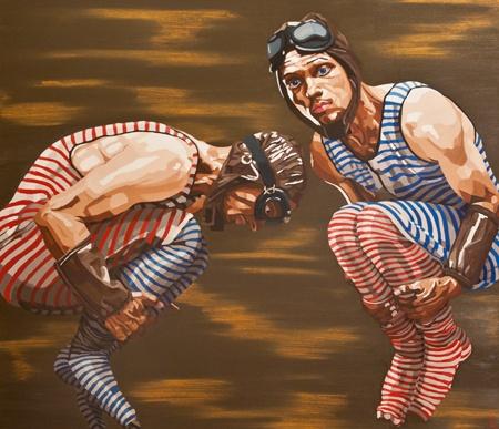 Rhonda  Goodall-Kirk The Human Cannonball - 2013 Oil on canvas 120 x 140 cm