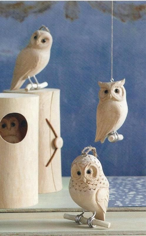Carved Wood Owl Ornament                                                       …