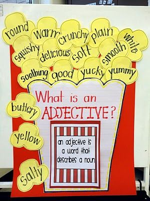 What a fun way to learn about adjectives.  Just be sure to bring some popcorn along for a snack! Repinned by SOS Inc. Resources. Follow all our boards at pinterest.com/sostherapy/ for therapy resources.