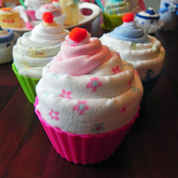 Jumbo Baby Cupcake - Receiving Blanket, Burp Cloth & Infant Washcloth baby shower gift cute unique girl boy neutral. $19.50, via Etsy.