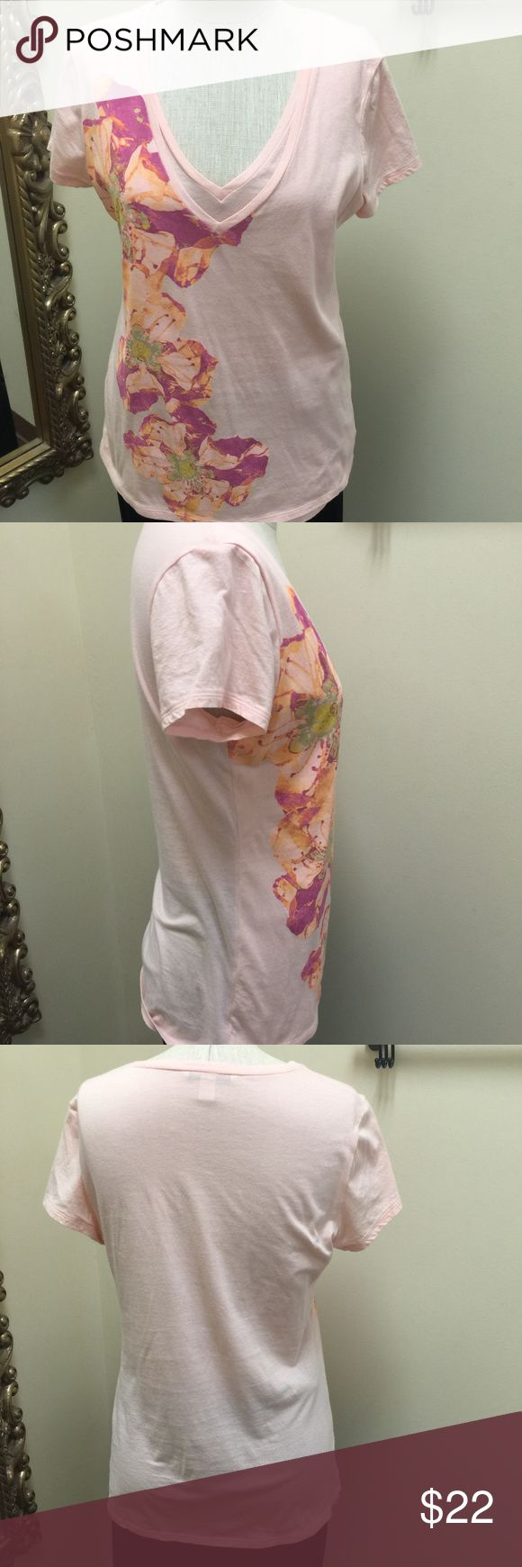 J. Crew double v-neck floral Tee pink size Medium Fun!  J Crew pink double vneck t-shirt with fushia orange olive yellow floral design on side.  The double v neck is basically creating a fully lined front of the top.  This is 100% cotton. J. Crew Tops Tees - Short Sleeve