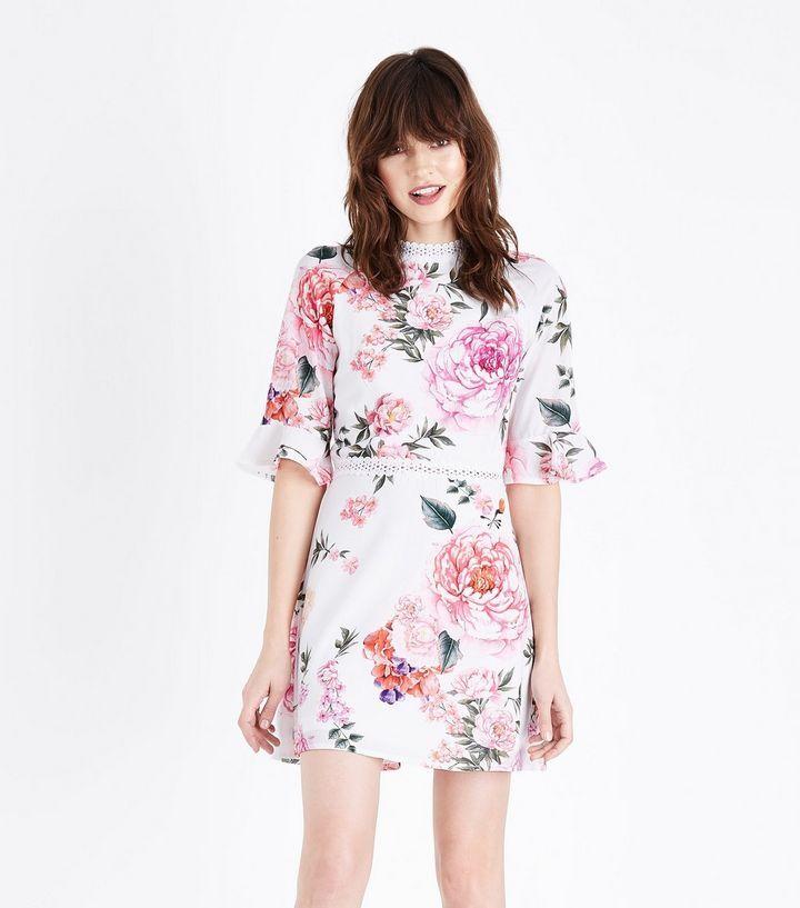 Parisian White Floral Lace Trim Tea Dress   New Look