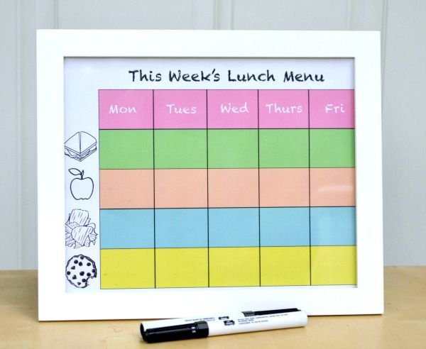 DIY lunch chart ... or Chore/reward chart???