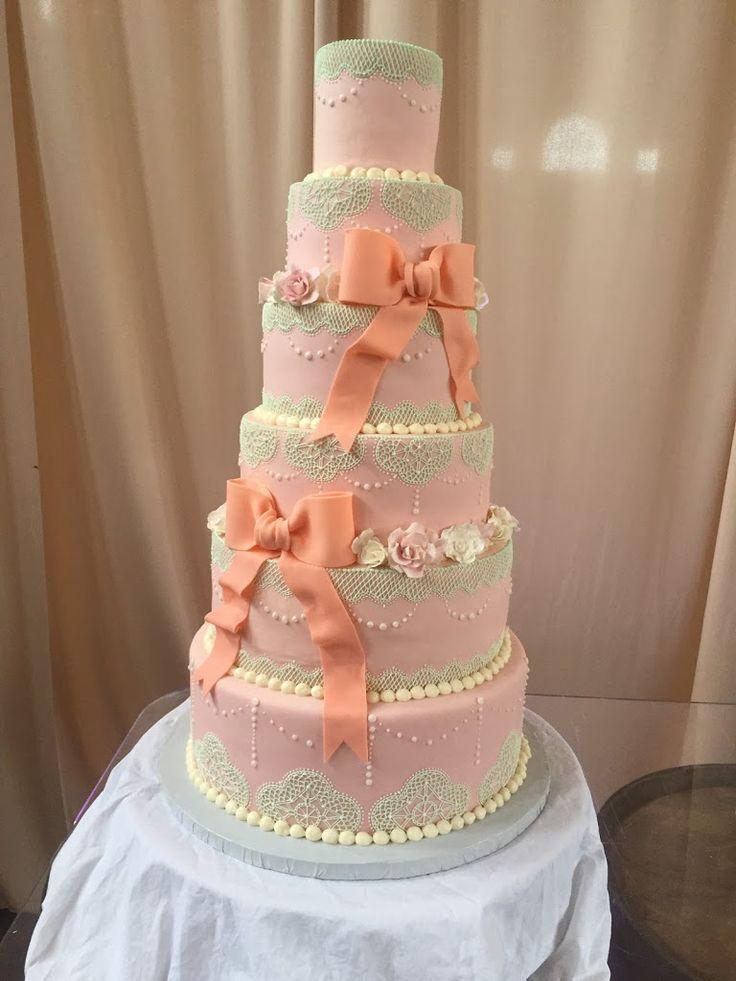 Blush and mint lace wedding cake wwwKellysCakerycom