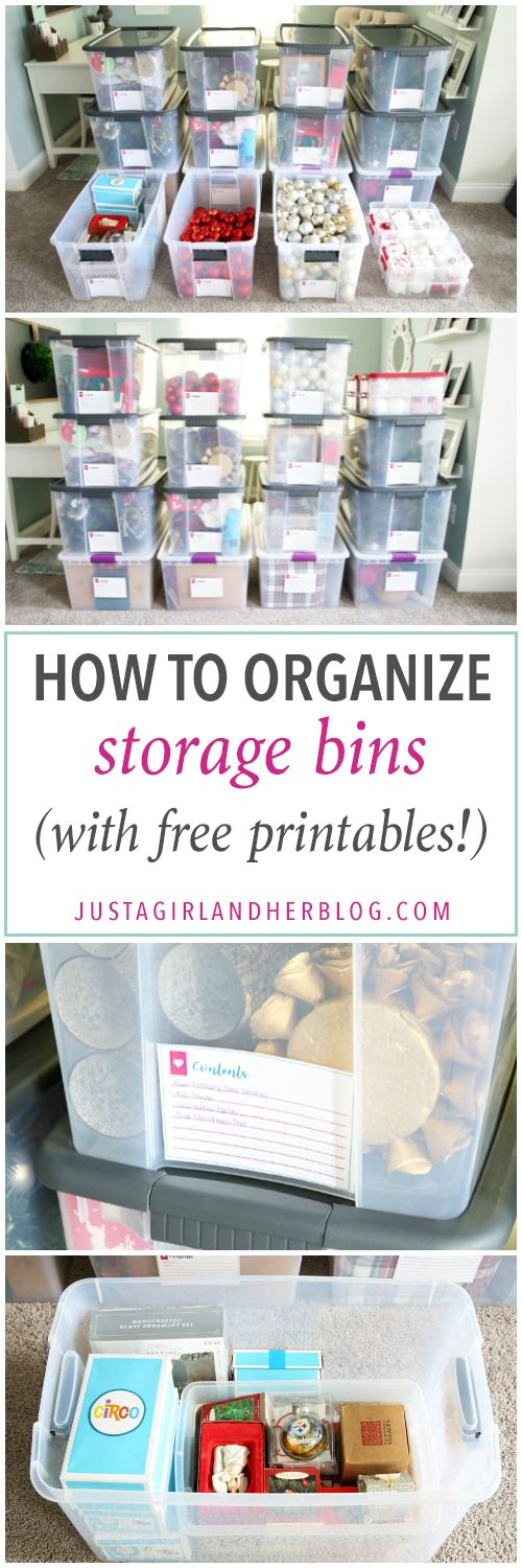 Home Organization- How to Organize Storage Bins with Free Printables, How to Organize Storage Bins, Christmas Storage, Holiday Storage, Christmas organization, holiday organization, organizing Christmas decorations, organized holiday decor, labels, free printables, free printable tags, organized Christmas storage bins