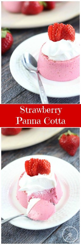 STRAWBERRY INFUSED PANNA COTTA! Super simple and ready in minutes. #recipe #thegoldlininggirl #pannacotta #strawberries