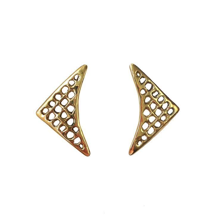 Westland Jewelry Woven Boomerang Earrings - minimalist fashion jewelry, ecofriendly jewelry, eco jewelry, vegan fashion, slow fashion, gold jewelry, bronze jewelry, handmade jewelry, lost wax jewelry, sculptural jewelry