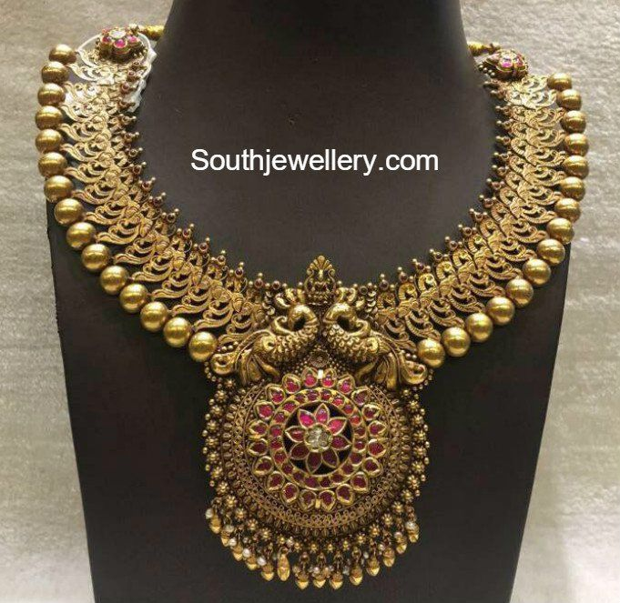 Antique Gold Peacock Necklace