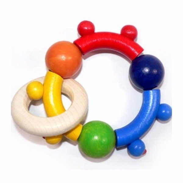 Motorik Rattle with 3 Balls - Wooden Grasping Toy