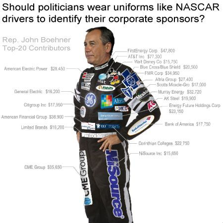 """Making politicians wear uniforms clearly displaying their corporate sponsors is an AWESOME idea! It would be the first bit of clarity in politics in many years.....of course this won't happen but shouldn't there be TV """"disclaimers"""" when a political leader talks for or against an issue?  And all lobbyists and donations listed on their web sites?"""