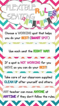 This poster is perfect for any classroom using flexible seating/alternative seating. The rules are simple and easy to follow.