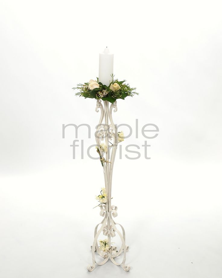 Our White Candelabras with Flowers from Maple Florist - Elizabeth Room, Cropley House