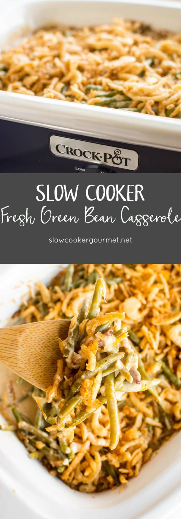 Slow Cooker Green Bean Casserole uses premium frozen green beans and a homemade sauce for a healthier and even more delicious holiday side dish!