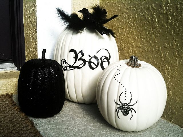 black and white themed pumpkins halloween