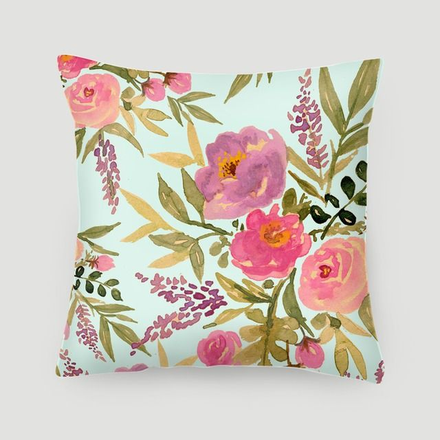 Pillow 40x40 cm (with insert) | Garden Rose in Blue by Babalisme | Made from canvas linen, stuffed with dacron fill, and finished with concealed zipper. Pillow covers are available on their own or with pillow filling. #pillows #cushions #arts #prints #etsy #artwork #gift #design #home #decor #love #interior #trends #unique #photography #ideas #photo #inspiration #diy