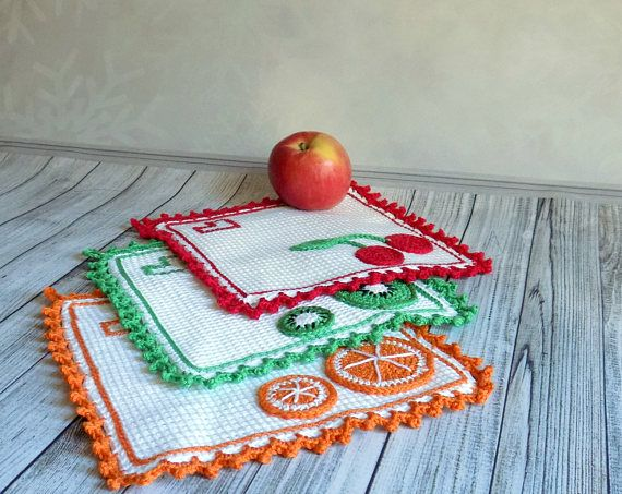 Crochet coasters for kitchen Decorative doily Stand under hot