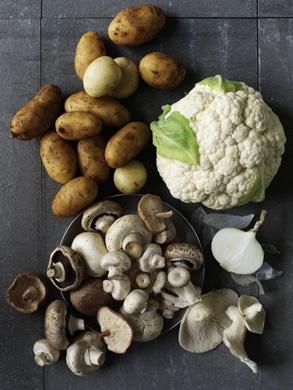 Cauliflower, Potatoes and Mushrooms - William Meppem Photographer