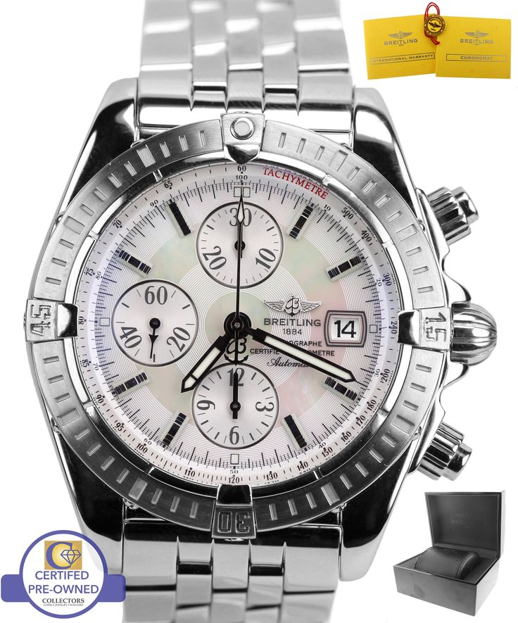 Breitling Chronomat Evolution White MOP Chronograph 44 Stainless A13356 Watch