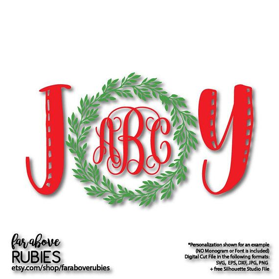 christmas joy wreath monogram monogram not included holidays
