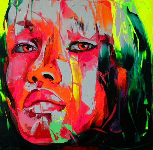 Application using only pallet knife. Neon oils + some neutrals. gorgeous use of colors and paint: Design Milk, Oil Paintings, Art Paintings, Palettes Knifes, Portraits Paintings, Paintings Pictures, Paintings Faces, Neon Color, Grey Paintings