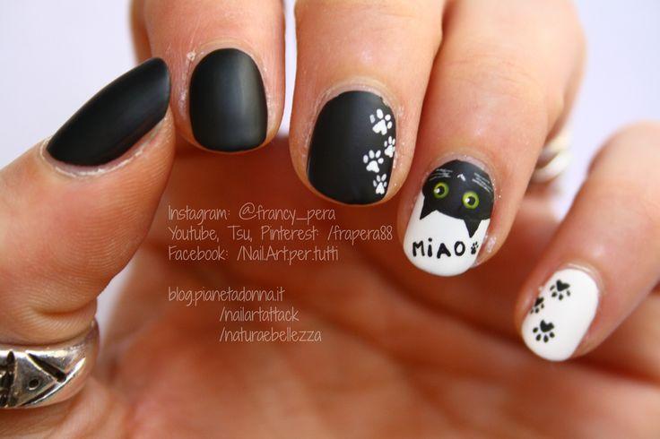 Miao! - Tutorial nail art: https://www.youtube.com/watch?v=xAua7Zi-rMo  #tutorial #nailart #nail #nails #cat #gatto #miao #meow