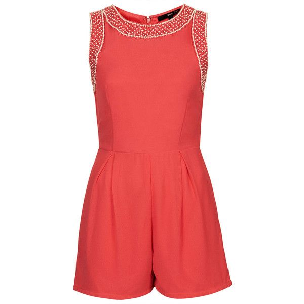 **Ink Embellished Playsuit by TFNC (345 EGP) ❤ liked on Polyvore featuring jumpsuits, rompers, playsuits, romper, coral, tfnc, red romper, playsuit romper and red rompers
