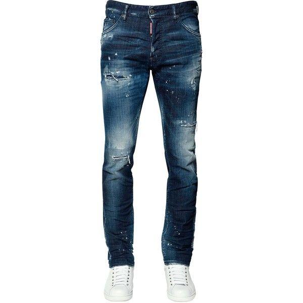 Dsquared2 Men 16.5cm Cool Guy Cotton Denim Jeans ($545) ❤ liked on Polyvore featuring men's fashion, men's clothing, men's jeans, blue, mens destroyed jeans, mens torn jeans, mens blue ripped jeans, mens distressed jeans and mens jeans