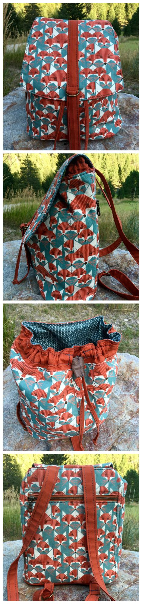 Lucy backpack sewing pattern.  Very versatile bag, looks beautiful and not too difficult to sew.  Pattern from Swoon, photos by Beatriz Padron McDavid                                                                                                                                                                                 More