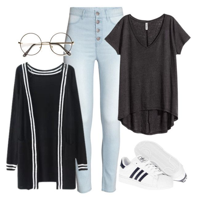 """""""Lazy day with Donghyuk"""" by ebenita95 ❤ liked on Polyvore featuring H&M, adidas, women's clothing, women, female, woman, misses, juniors, kpop and ikon"""