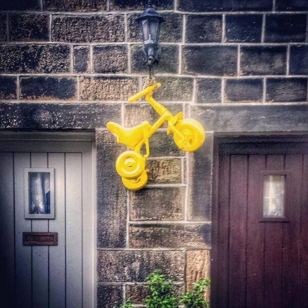 yellow bicycles have started to appear everywhere in Yorkshire.