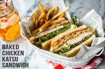 Delicious baked crispy chicken sandwich recipe with garlic mayo sauce, in Japan we call this Chicken Katsu Sando.