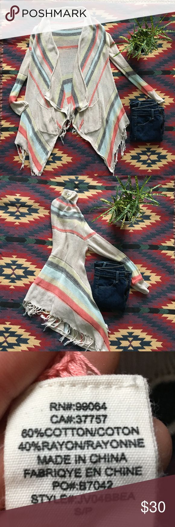 **Billabong Fringe Cardigan** Fringe cardigan in great condition  Size: Small  -Open Front -Fringe Hem -Draped Fit -Tan with colored stripes - Coral, Aqua, Gray, very light lime green (All pastel colors) Billabong Sweaters Cardigans
