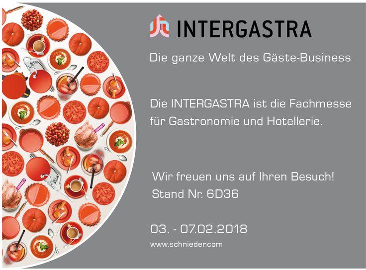 Die ganze Welt des Gäste-Business Die #INTERGASTRA ist die internationale Fachmesse für die Branchen Gastronomie und Hotellerie.  Wir freuen uns auf Ihren Besuch! Stand Nr. 6D36 03. - 07.02.2018  #Schniedersitzt! https://www.schnieder.com/termine/artikel/intergastra-messe-stuttgart-03-07022018.html