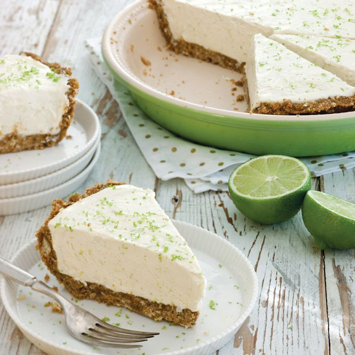 Frozen Key Lime Pie made with fresh Key lime juice and a gingersnap crust.
