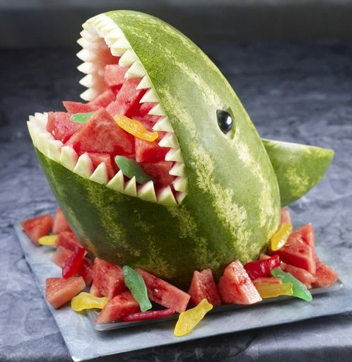 Made this twice last summer for parties, but the fish candies would add a lot.Watermelon Sharks, Kids Parties, Fruit Salad, Birthday Parties, Sharks Weeks, Food, Summer Parties, Parties Ideas, Pools Parties