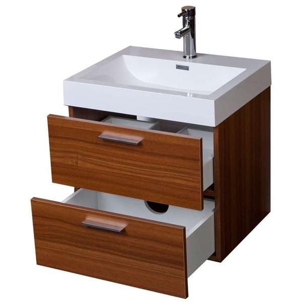 Featuring exotic wood grain exteriors offset by modern brushed chrome door pulls, this wall-mounted bathroom vanity makes the most of a small space. Two soft c